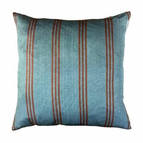 Istanbul Cushion Dusty Blue and Orange Stripes 50x50