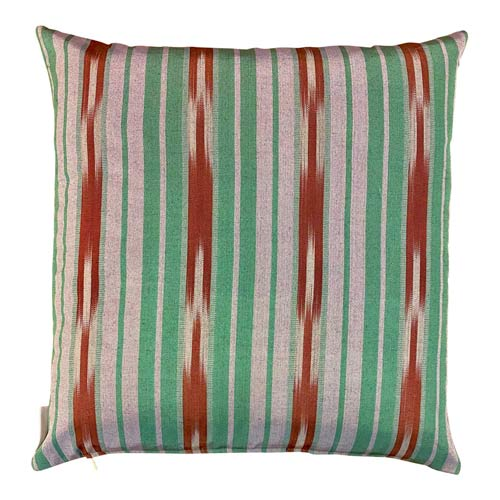 Istanbul Cushion Green, Silver & Rust Red stripes 50x50