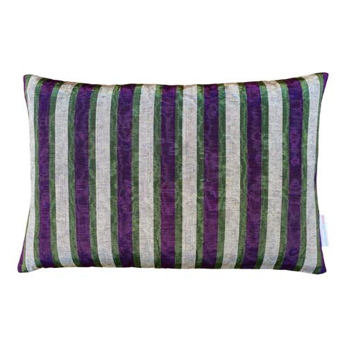 Istanbul Cushion Purple, Silver & Green Stripes 50x30