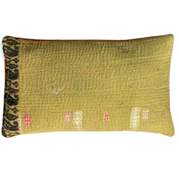 Unique Gudri cushion in ocher with Pink and Orange embroidery - 50x30 cm