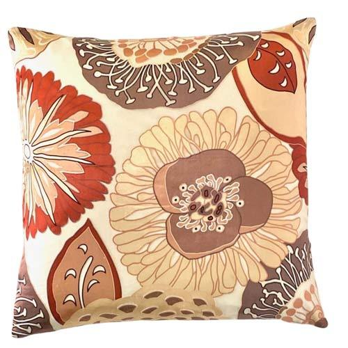 OUTLET Pude i silke Fall flowers Brown nuances & White 50x50