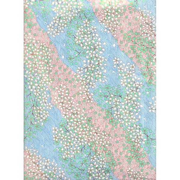 Japan Papir -  Abstract pattern with Babypink, Light blue & Green, with flowers