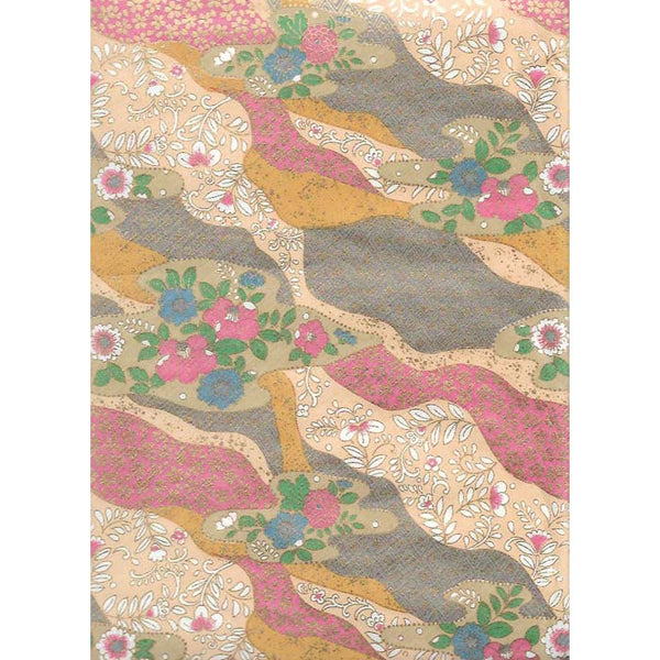 Japan Paper - Abstract pattern with Golden colors Grey, Ochre & Mauve , with flowers