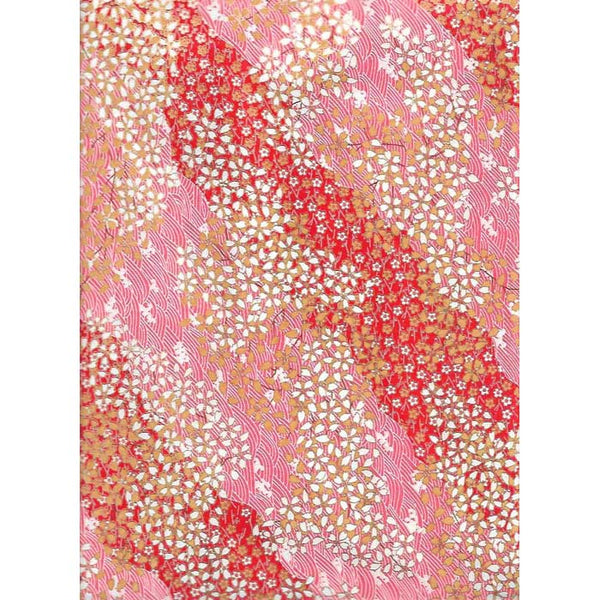 Japan Papir -  Abstract pattern with Red, Echru, White & Pink, with flowers