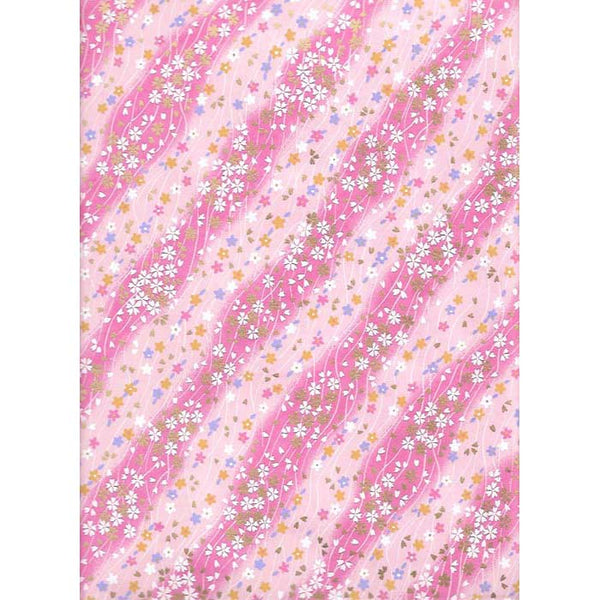 Japan paper - Abstract pattern with pink wavy colors & flowers