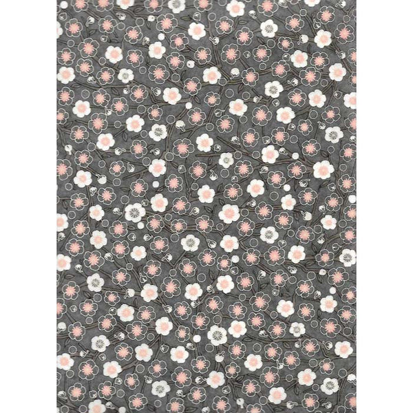 Japan Papir -  Dark Grey with White & light Pink Cherry blossoms
