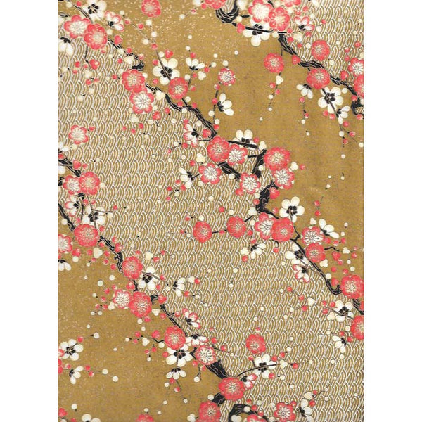 Japan Paper - Dark Ocher, White wavy hills and Red Cherry flower Blossoms