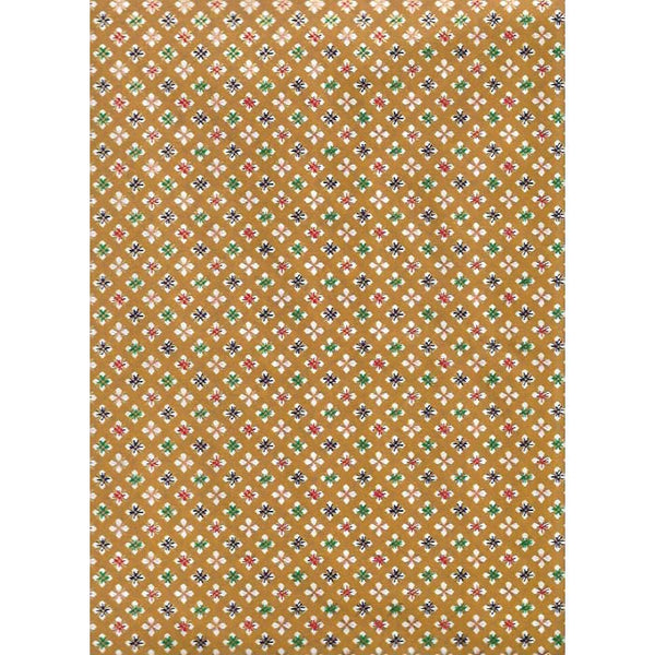 Japan Papir -  Dark Ochre diagonal flower pattern
