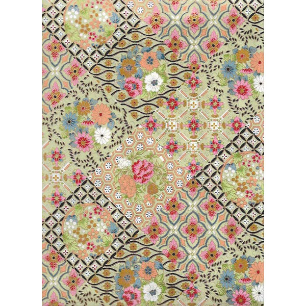 Japan Paper - Diamond shaped flower pattern with Green, Black, Peach & Pink