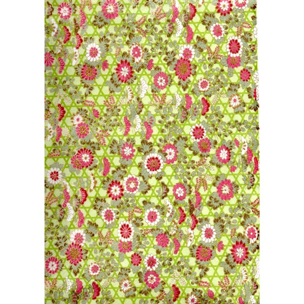 Japan Paper - Green graphic pattern , with flamingo Red and White flowers