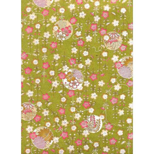 Japan Paper - Green pattern, with flamingo Red and Ecru flowers with golden rim
