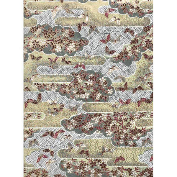 Japan Paper - Grey, Beige landscape with flowers & Brown Butterflies