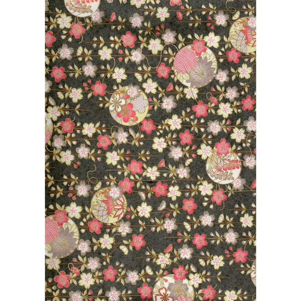 Japan Paper - Grey pattern, with flamingo Red & light green & pink flowers