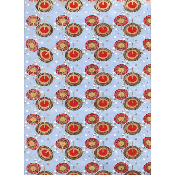 Japan Papir -  Light Blue pattern with oval figures with Red, Yellow & Brown