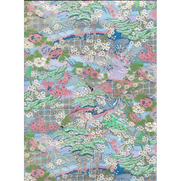 Japan Paper - Meadow with Lavender, Green , Dusty & turquoise