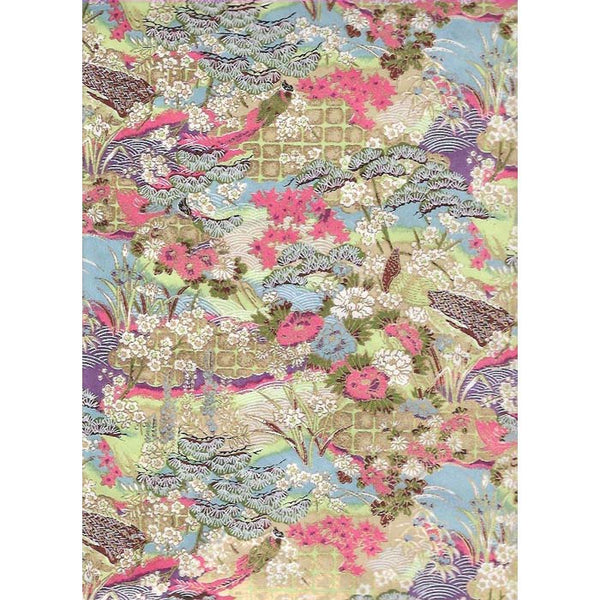 Japan Paper - Meadow with Lavender, Green, Salmon and Golden rim