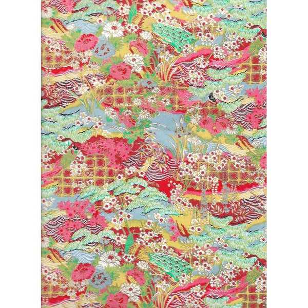 Japan Paper - Meadow with Red, yellow, Salmon & Light Turquoise