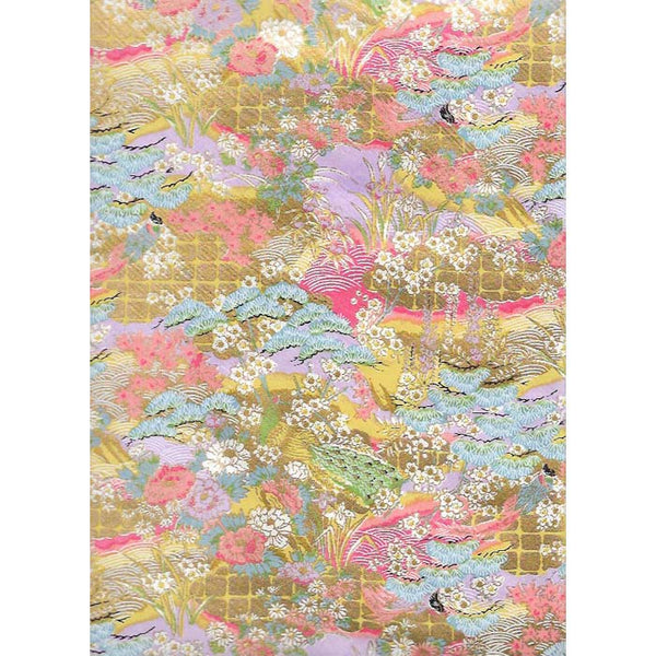 Japan Paper - Meadow with bright Lavender, yellow , dark Salmon & Gold