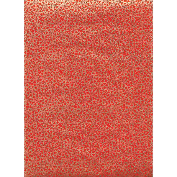 Japan Paper - Orange oriental circle pattern with Gold Flowers