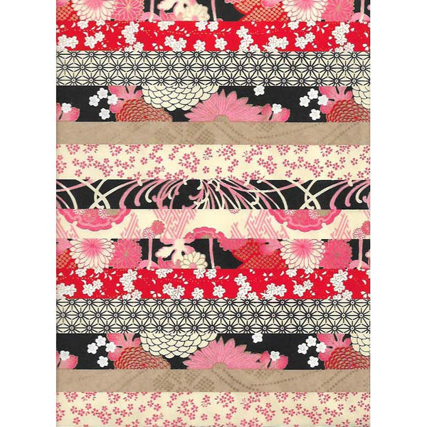 Japan Papir -  Patterned Black, Pink & Ecru stripes with diffrent flower motives