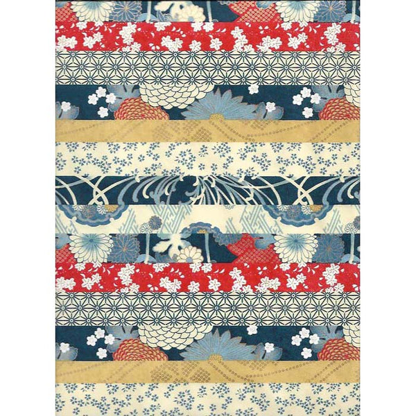 Japan Paper - Patterned Blue, Red & Beige stripes with diffrent flower motives