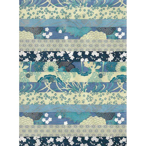 Japan Papir -  Patterned Blue stripes with diffrent flower motives
