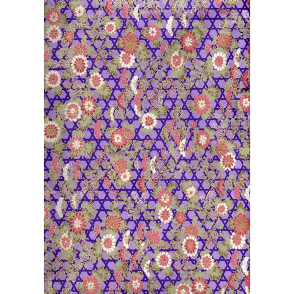 Japan Paper - Purple, Pink & ocher abstract landscape with flowers