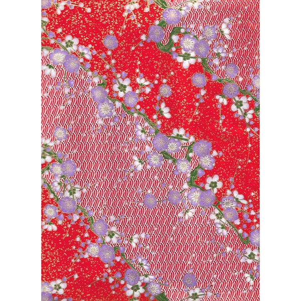 Japan Paper - Red, White wavy hills & Purple Cherry blossoms