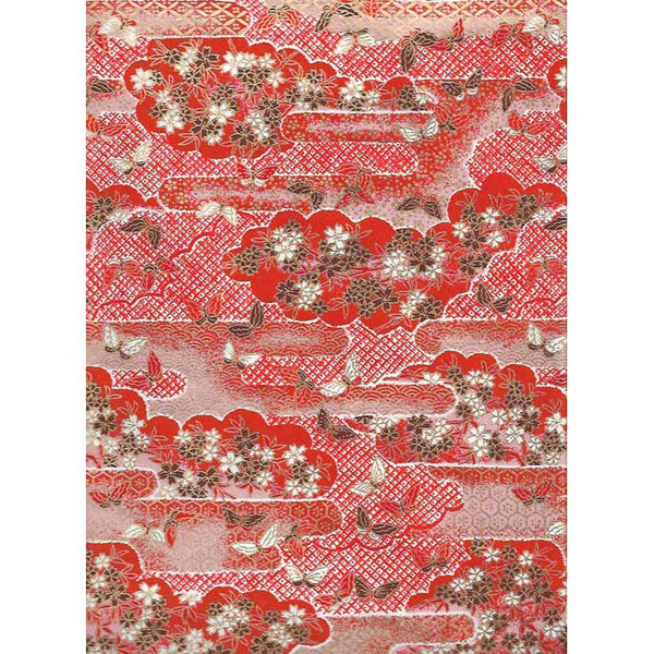 Japan Paper - Red landscape with flowers & Butterflies