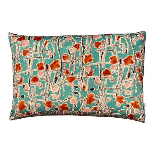 Japan Cushion Abstract Wildflower, turquoise, Orange, Oldrose & Grey 50x30