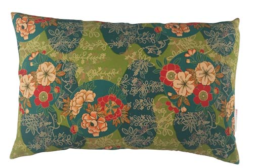 Japan Pude Green & Petrolium With Flowers 50x30