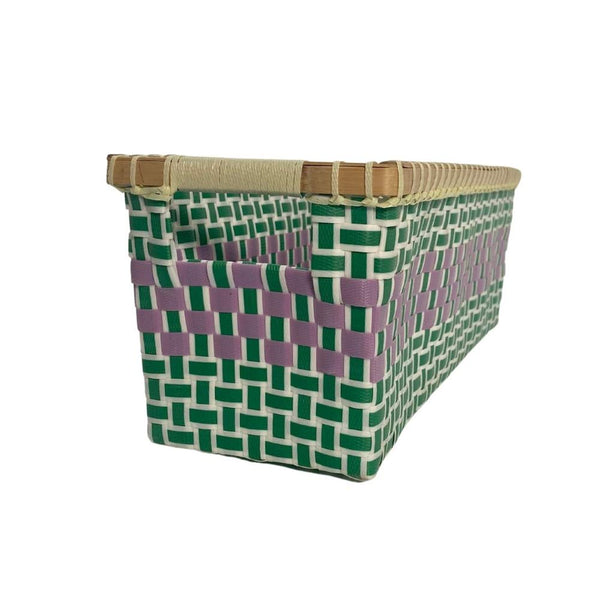 Basket for storage in Green & Cyclame - Rectangular