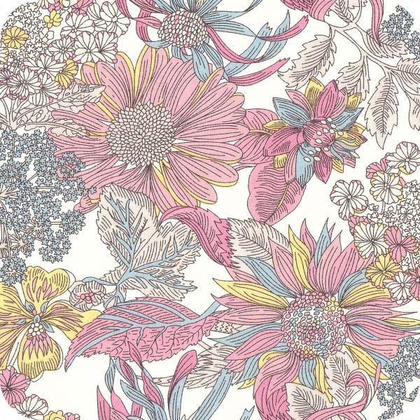 LIBERTY Stof Angelica Garla Yellow, Baby pink, White & Grey