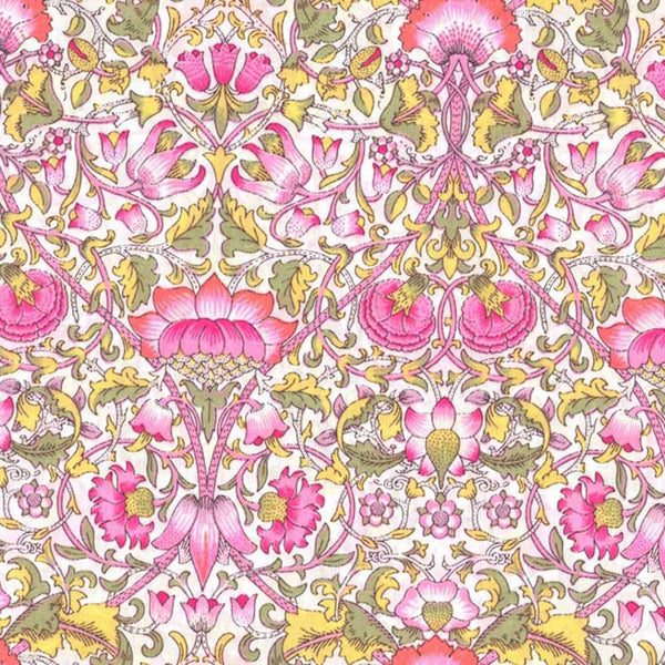 LIBERTY Stof Lodden Pink, light Green, Yellow & white