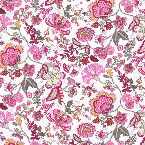LIBERTY Stof Mabelle Pink, Red, Yellow, Grey & White