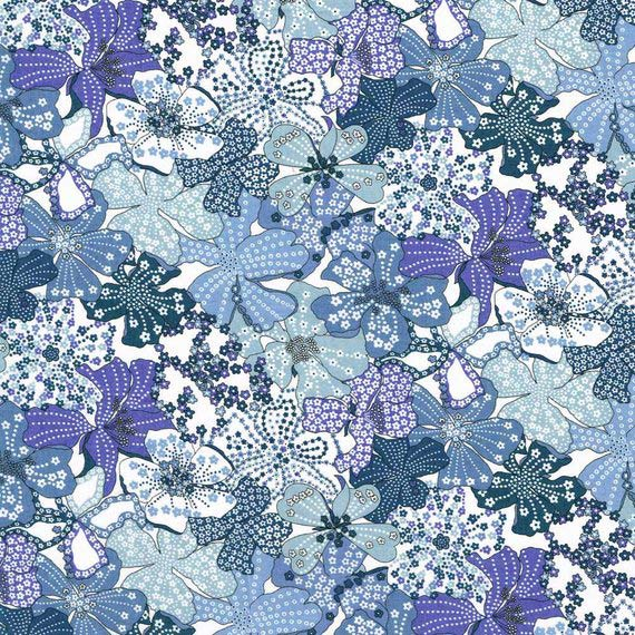 LIBERTY Stof Mauvey Blue, Purple, White & Grey