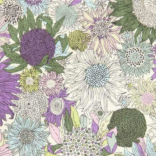 LIBERTY Stof  Small Susanna Purple, Green, Dusty Greyblue & Light pink.