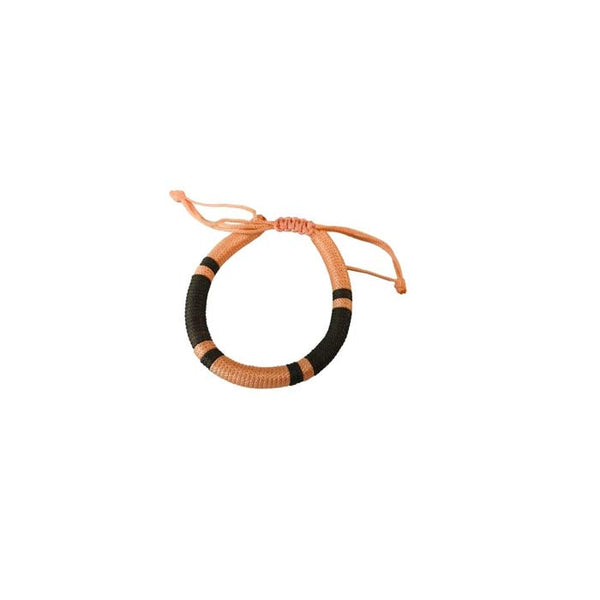 OUTLET ARMBÅND - Knyttet Light Peach & Brown stribet