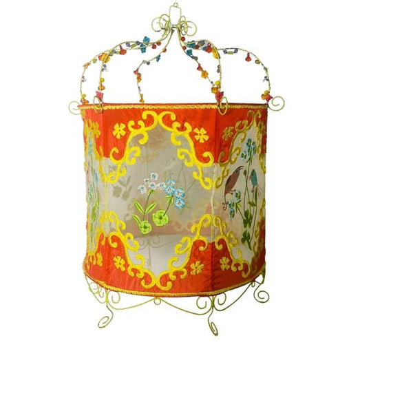 OUTLET Lamp - Orange & Yellow with Birds, Flowers & Pearls