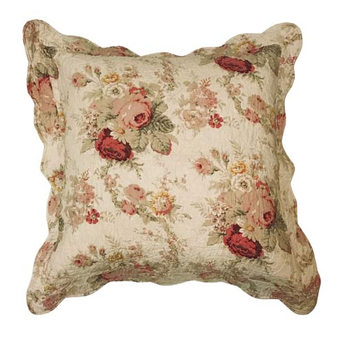 OUTLET Quiltet pude - Creme med Blomster 60x60