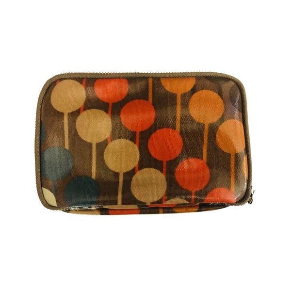 OUTLET TOILETTASKE ORLA KIELY- Brun m. prik mønster i Dusty Orange, Rød & Blå