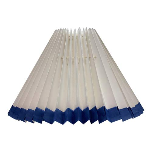 Pleated lampshade White with Blue edge