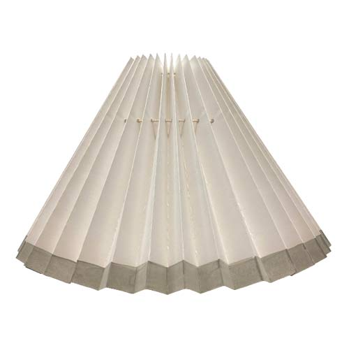 Pleated lampshade - White with Gray edge