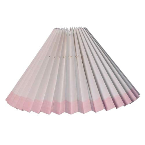 Pleated lampshade - White with Pink edge