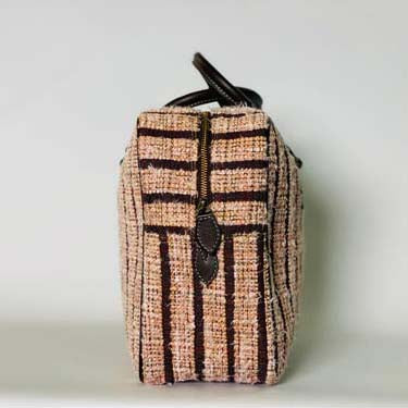 OUTLET bag-Multicolor tern-Burgundy canvas with old pink Tweed & black leather