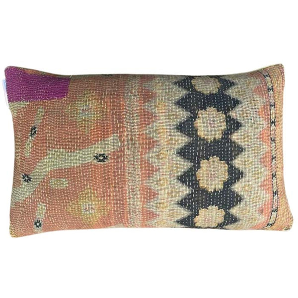 Unique Gudri pillow in the Fresco, Black & Cream patterns-50x30 cm