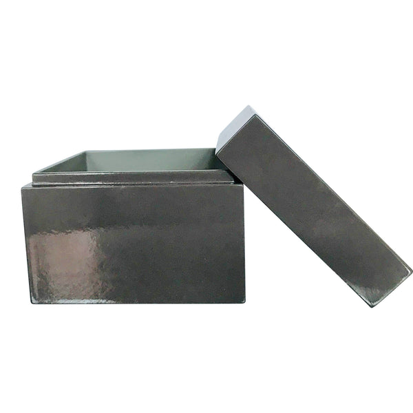Boxes in varnish with lid-dark grey & mouse grey