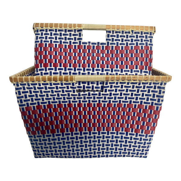 Basket for storage in blue and Red - Square