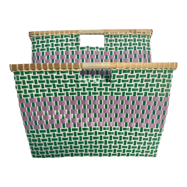 Basket for storage in Green and Cerise - Square