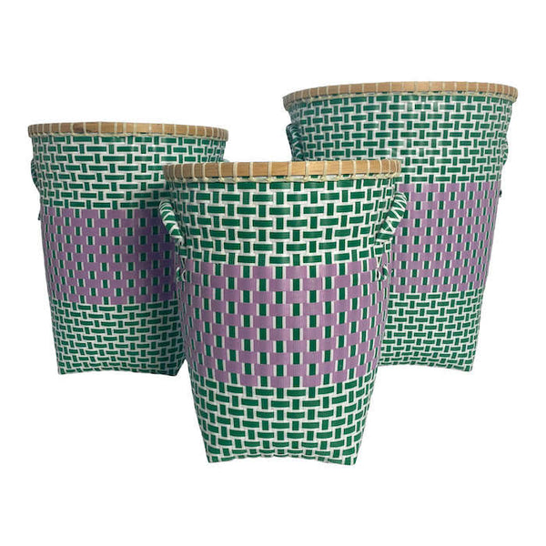 Basket in Green and Cerise-high